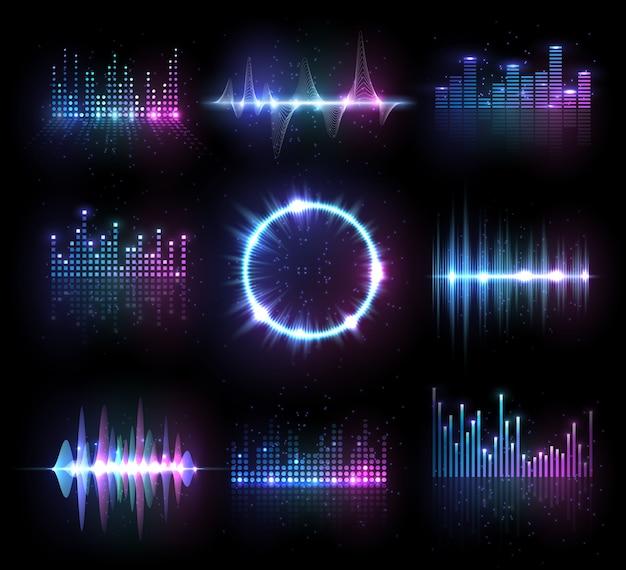 Музыкальные эквалайзеры, аудио или радиоволны, звуковые частотные линии и круг.