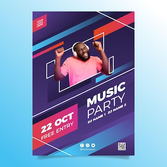 Music event in 2021 poster template with photo