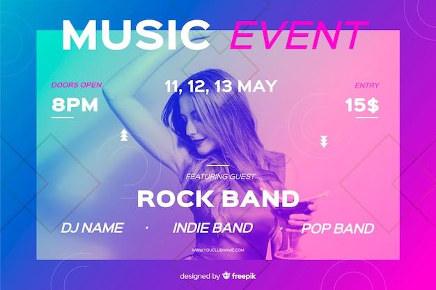 Modello di banner evento musicale con foto