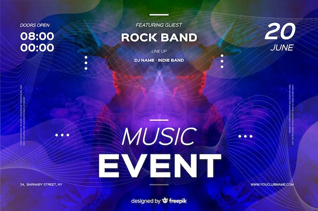 Music event banner template with photo
