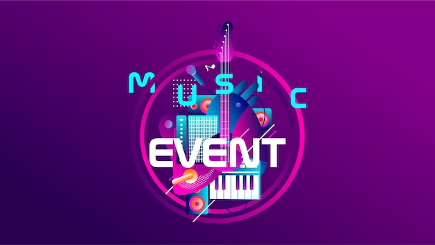 Music event banner with colorful shape