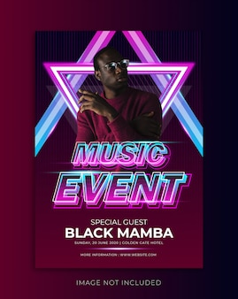 Music event flyer template with text effect