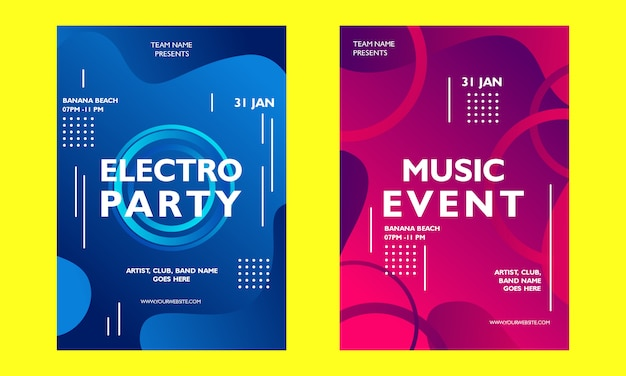 Music event gradient poster template