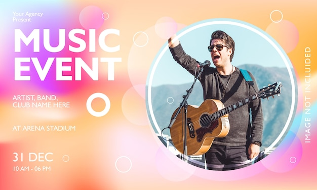 Music event horizontal poster template