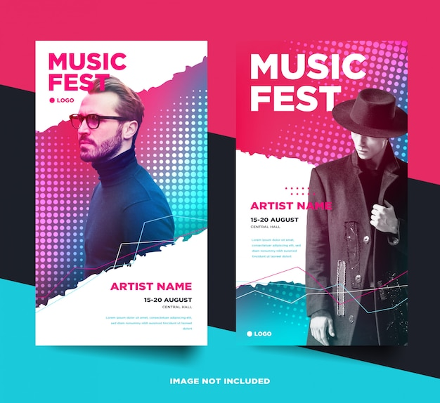 Music event instagram stories banner set