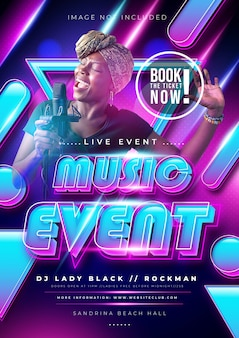 Music event or party poster with colorful gradient color