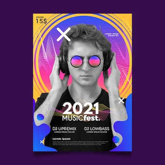 Music event poster for 2021 template