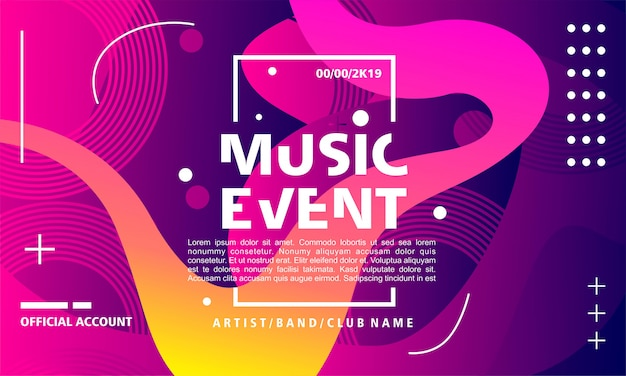Music event poster design template on colorful background with flowing shape