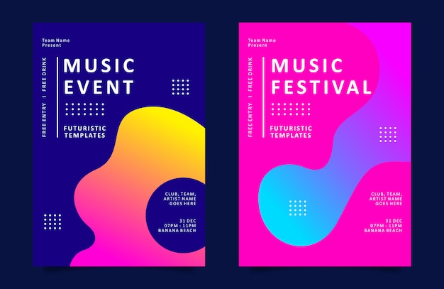 Music event poster or flyer template with colorful liquid shape