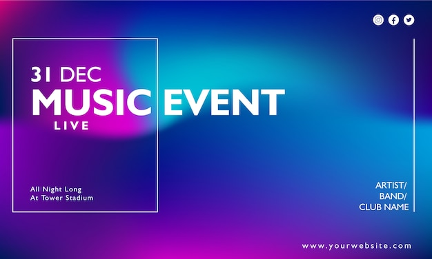 Music event poster on gradient background