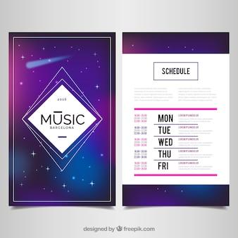 音楽イベントのポスター、スペースのテーマ