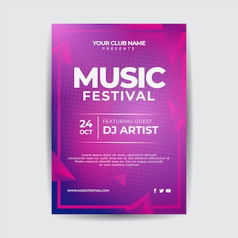 Music event poster template with abstract shapes