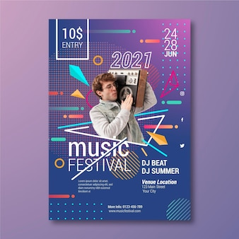 Music event poster template with photo