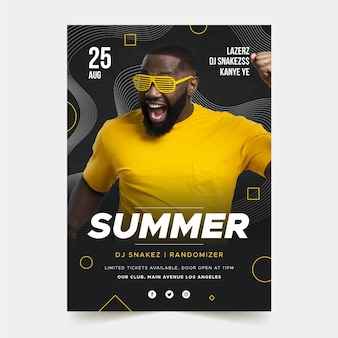 Music event poster template with picture