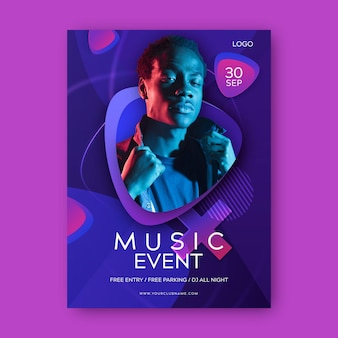 Music event poster with photo