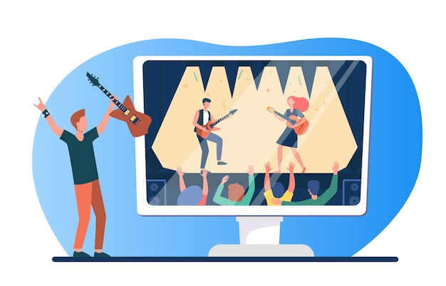 Music fan enjoying rock concert on tv. man with guitar watching music festival flat vector illustration. quarantine, home entertainment