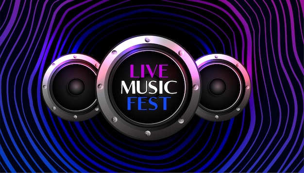 Music fest background with speakers