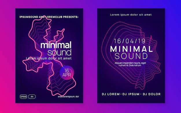 Music fest. dynamic fluid shape and line. curvy concert poster set. electro dance. electronic trance sound. techno dj party. club event poster.