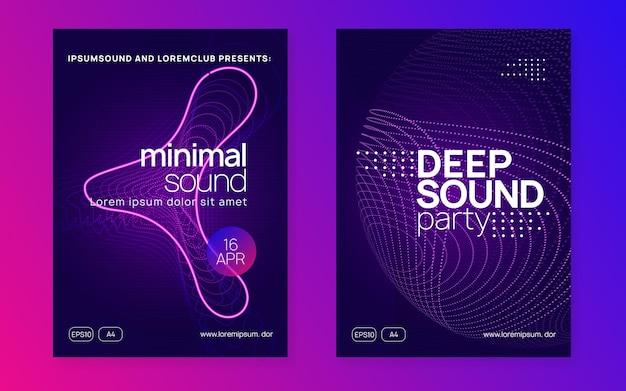 Music fest. energy show brochure set. dynamic fluid shape and line. music fest neon flyer. electro dance. electronic trance sound. techno dj party. club event poster.
