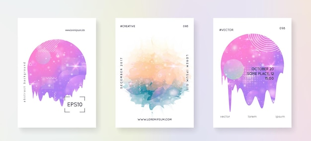 Music fest. modern brochure layout set for disco party. fluid holographic gradient shape and line. electronic sound. night dance holiday. music fest summer poster and flyer.