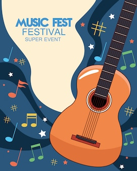 Music fest poster with acoustic guitar  illustration