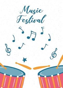 드럼 악기와 음악 축제 포스터