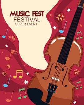 Music fest poster with fiddle  illustration