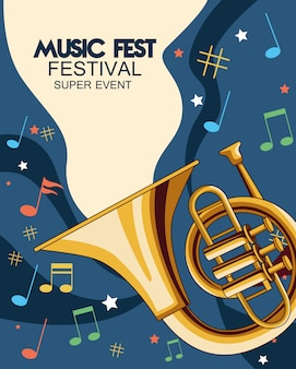 Music fest poster with trumpets  illustration