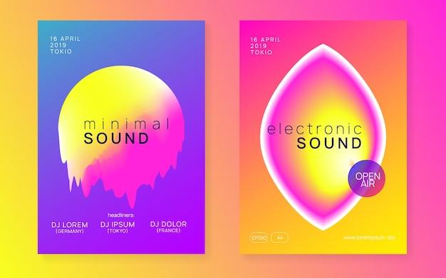 음악 축제 세트입니다. 전자음. 나이트 댄스 라이프 스타일 휴가. 유체 홀로그램 그라데이션 모양 및 선입니다. 트렌디한 인디 클럽 프레젠테이션 디자인. 여름 포스터와 음악 축제 전단지.