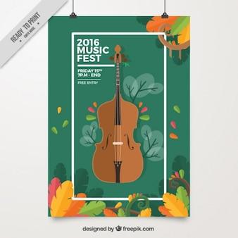Music fest постер с виолончелью