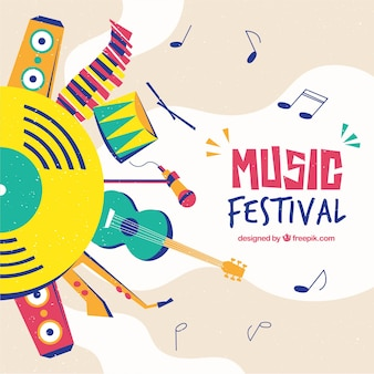 Music festival background in flat design
