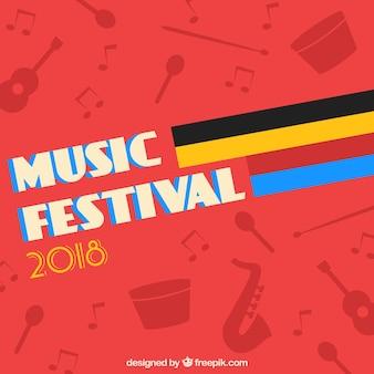 Фон музыкального фестиваля в плоском дизайне