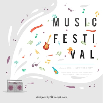 Music festival background in flat style