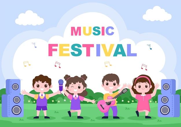 Музыкальный фестиваль фон векторные иллюстрации с музыкальными инструментами и живое пение для плаката, баннера или шаблона брошюры