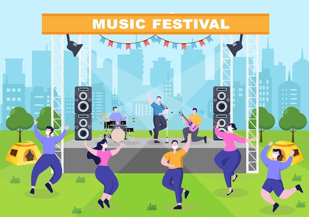 Music festival background vector illustration with musical instruments and live singing performance for poster, banner or brochure template