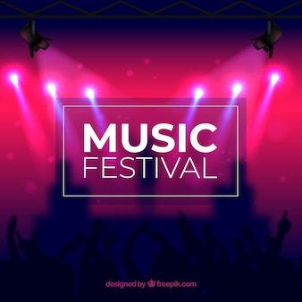 Music festival background with blurred stage