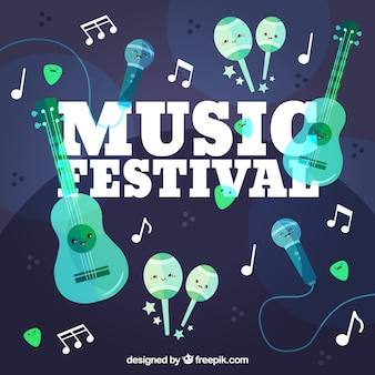 Music festival background with different instruments