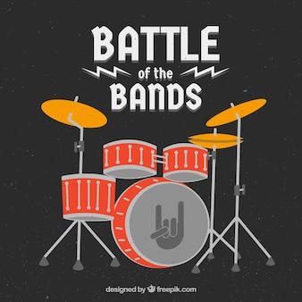 Фон музыкального фестиваля с барабанами в плоском стиле
