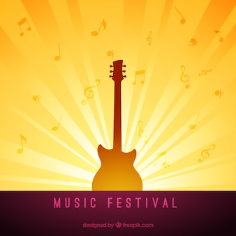 Music festival background with guitar