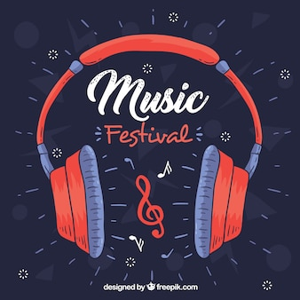 Music festival background with headphones