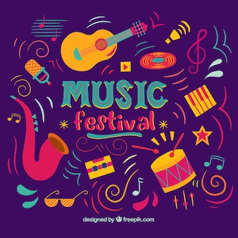 Music festival background with instruments in different colors