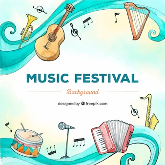 Music festival background with instruments in hand drawn style