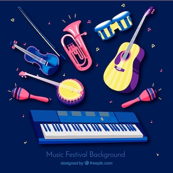 楽器を手にした音楽祭の背景
