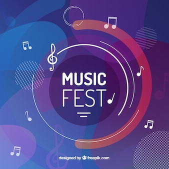 Music festival background with musical notes