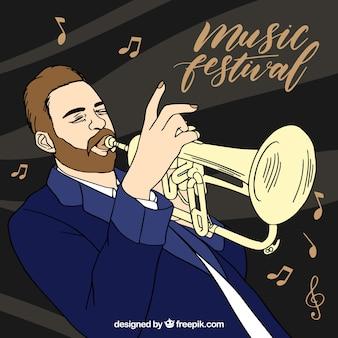 음악가 트럼펫 연주와 함께 음악 축제 배경