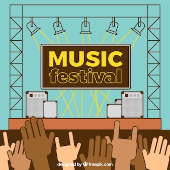Music festival background with stage