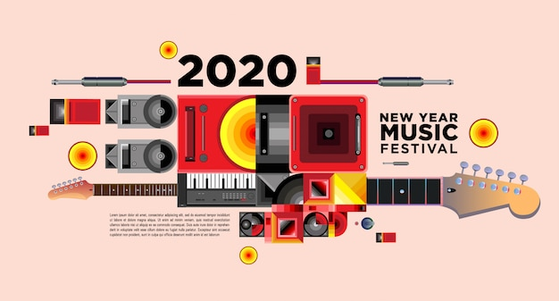 Music festival banner for 2020 new year party and event