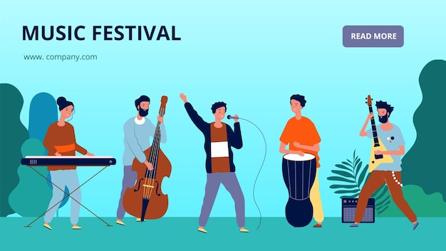 Баннер музыкального фестиваля. музыканты и инструменты, оркестр. целевая страница звукового фестиваля.