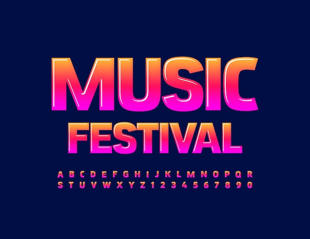 Music festival bright glossy font gradient color alphabet letters and numbers set