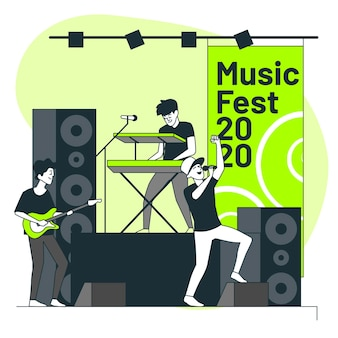 Music festival concept illustration